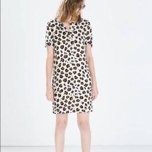 Zara White Cheetah Print Shift Dress